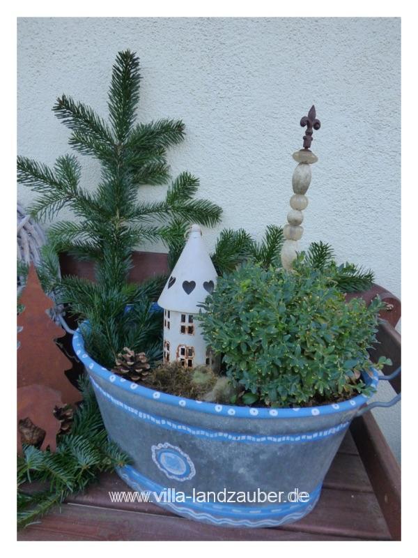Gartendeko vor dem 1 advent villa landzauber - Zinkwanne dekorieren ...